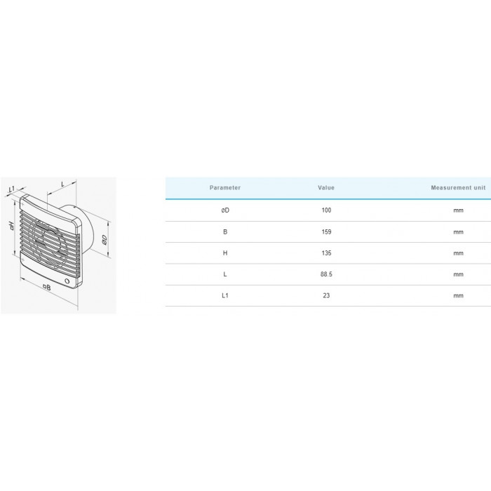 Вентилатор с таймер и датчик за влажност Vents 100 MTH / 14W
