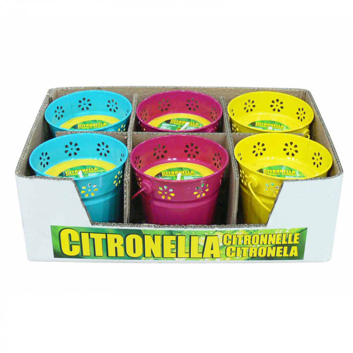Свещ против насекоми в цветна метална купичка Citronella 13х12см