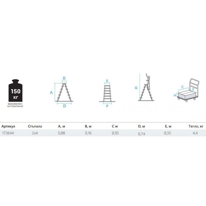 Двустранна домакинска стълба желязо/алуминий 2х4 150 кг