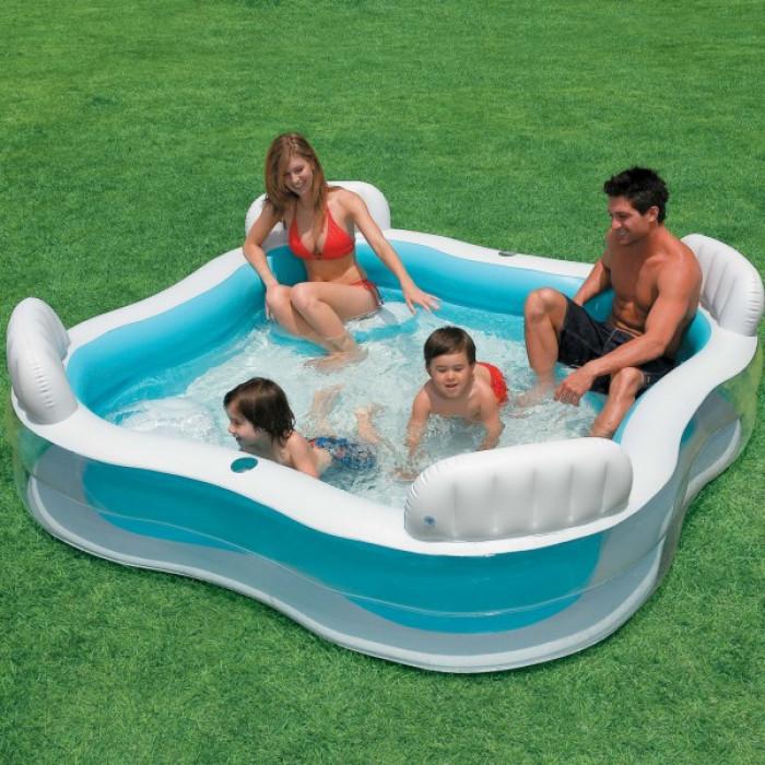 Надуваем семеен басейн със седалки Intex 229х229х56см