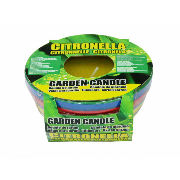 Свещ против насекоми в цветна глинена купичка Citronella 11.5х5.5см
