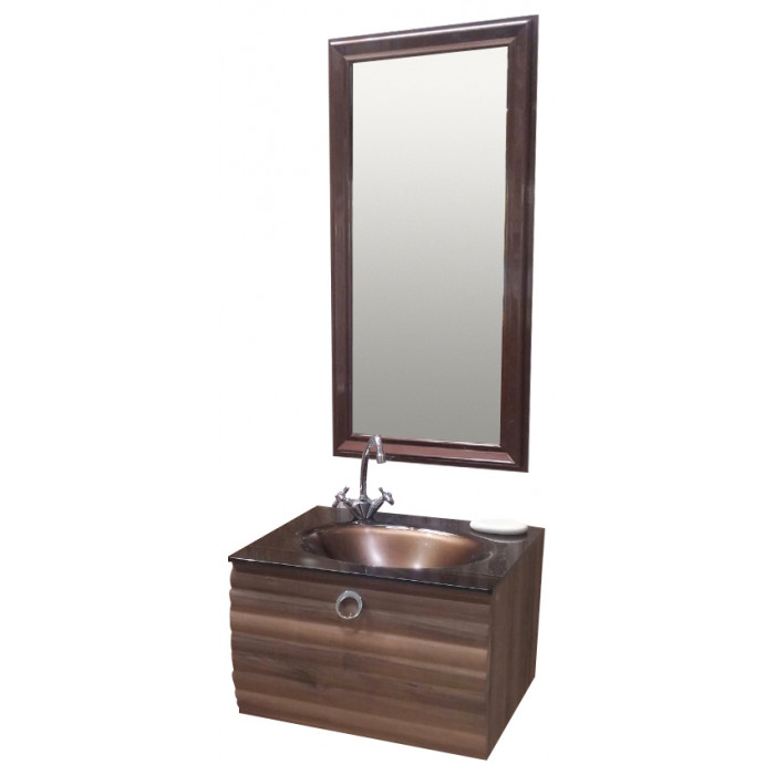 Комплект шкаф с мивка и огледало Orka Anzer Natural Walnut 60см