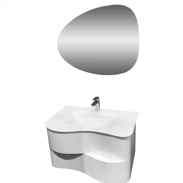 Комплект долен шкаф с умивалник и LED огледало Макена Сарагоса