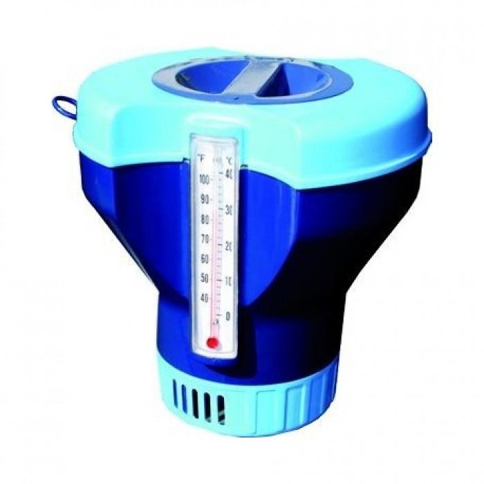 Кутия за хлорни таблетки 200г с вграден термометър Pool Expert