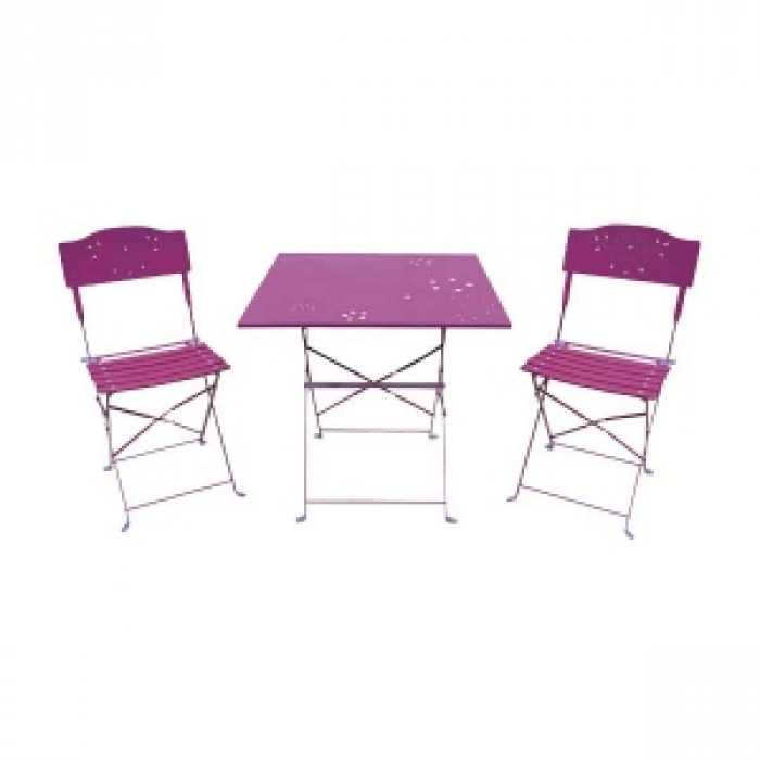 Метален комплект Бистро 3 части 1 брой маса и 2 броя столове TLE014 розов