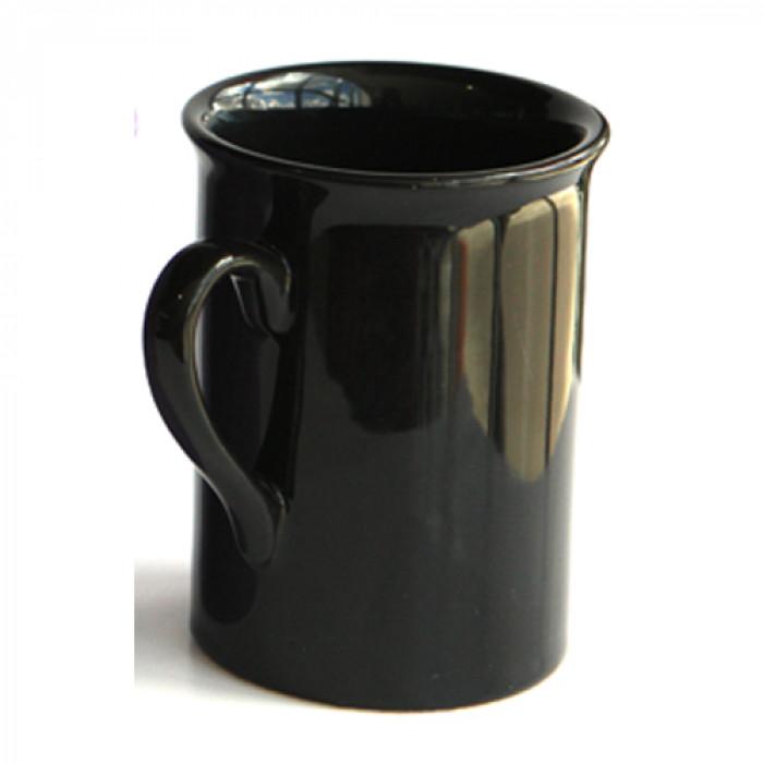 Черна керамична чаша с дръжка