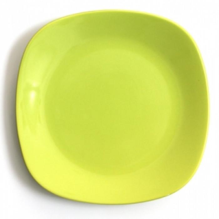 Квадратна керамична чиния 27см зелена