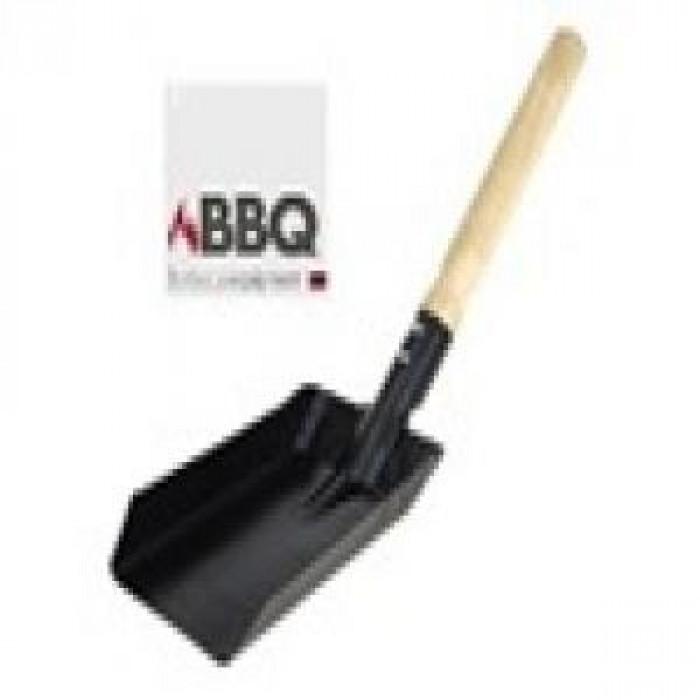 Лопатка с дървена дръжка за барбекю на въглища 37x9.5см черен мат