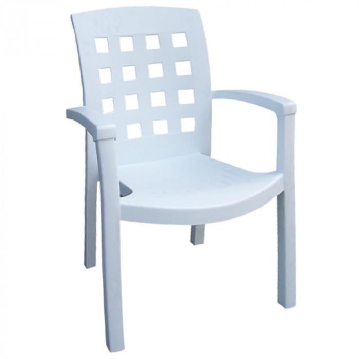 Градински PVC стол Salon бял 91х54х59см