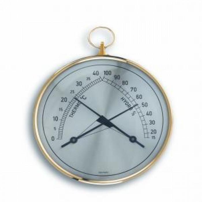 Стенен термометър и хигрометър с халка 0 до +40°С 15 до 100% Ø102x35x113мм