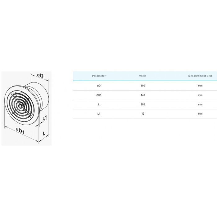 Вентилатор Vents 100PF / 14W