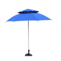 Плажен чадър с двоен покрив ZRU017 син / 250см