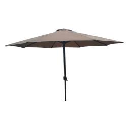 Градински алуминиев чадър с механизъм 350см / кафяв