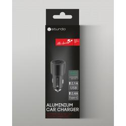 Зарядно за автомобил Sturdo Car Charger QC 3.0 / USB Type C 2.4A / USB 2.1A / черно