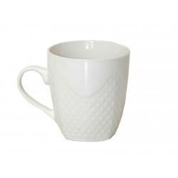 Керамична бяла чаша с релеф Т5-13