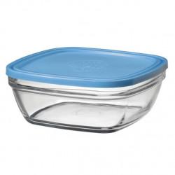 Стъклена квадратна купа с капак / дуралекс 23см-310cl