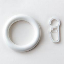 Пластмасова халка с кука Ø28 бяла 10 броя