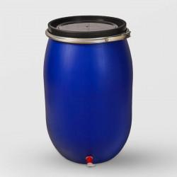 Пластмасов кръгъл бидон с обръч и канела Sterk 220 литра
