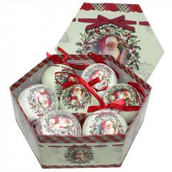 Коледни топки Дядо Коледа 7 броя / 8 см