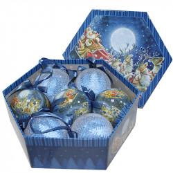 Коледни топки Коледна нощ 7 броя / 8 см