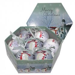 Коледни топки Снежко 7 броя / 8 см